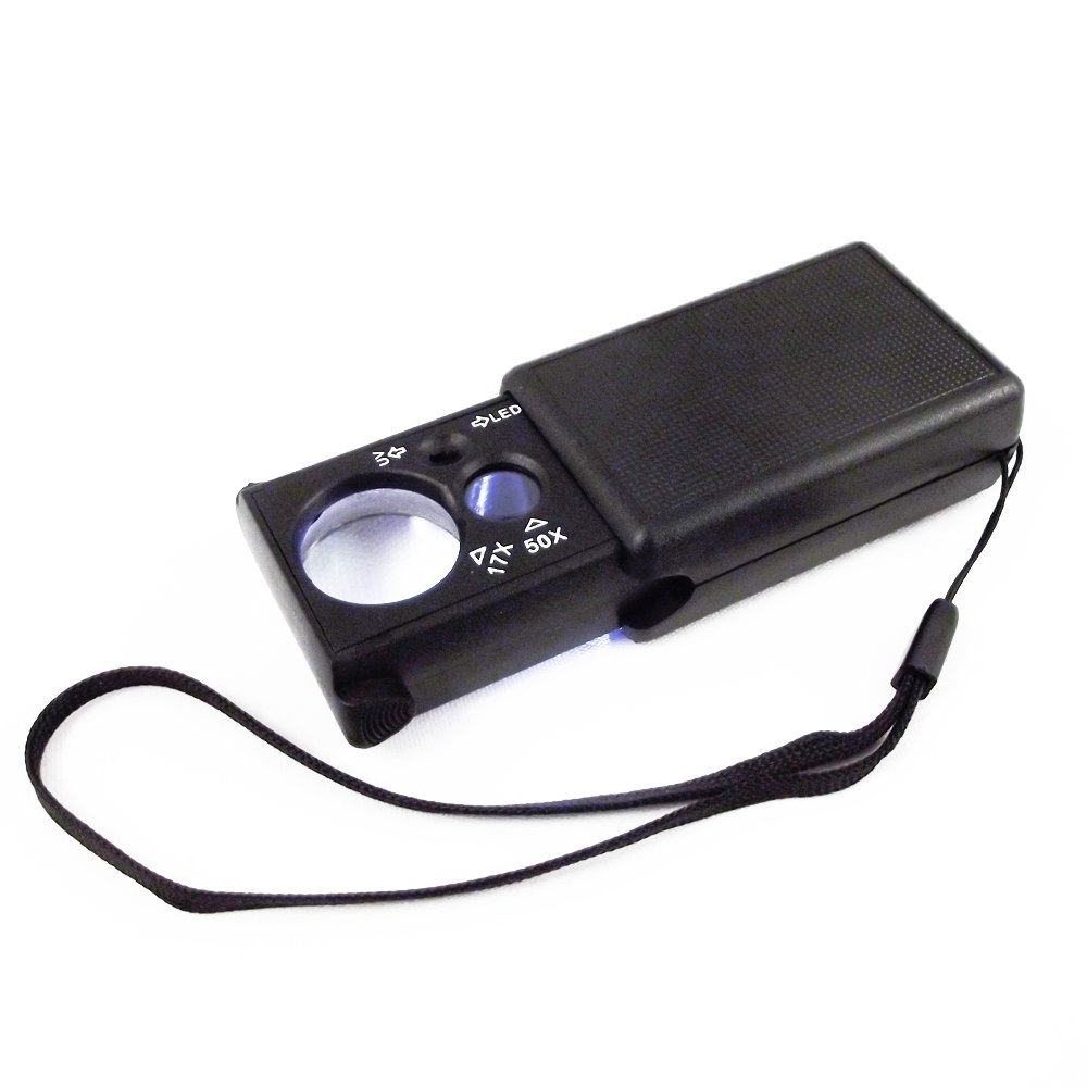 Dual Function Square UV Jewelers Loupe (17x 50x)