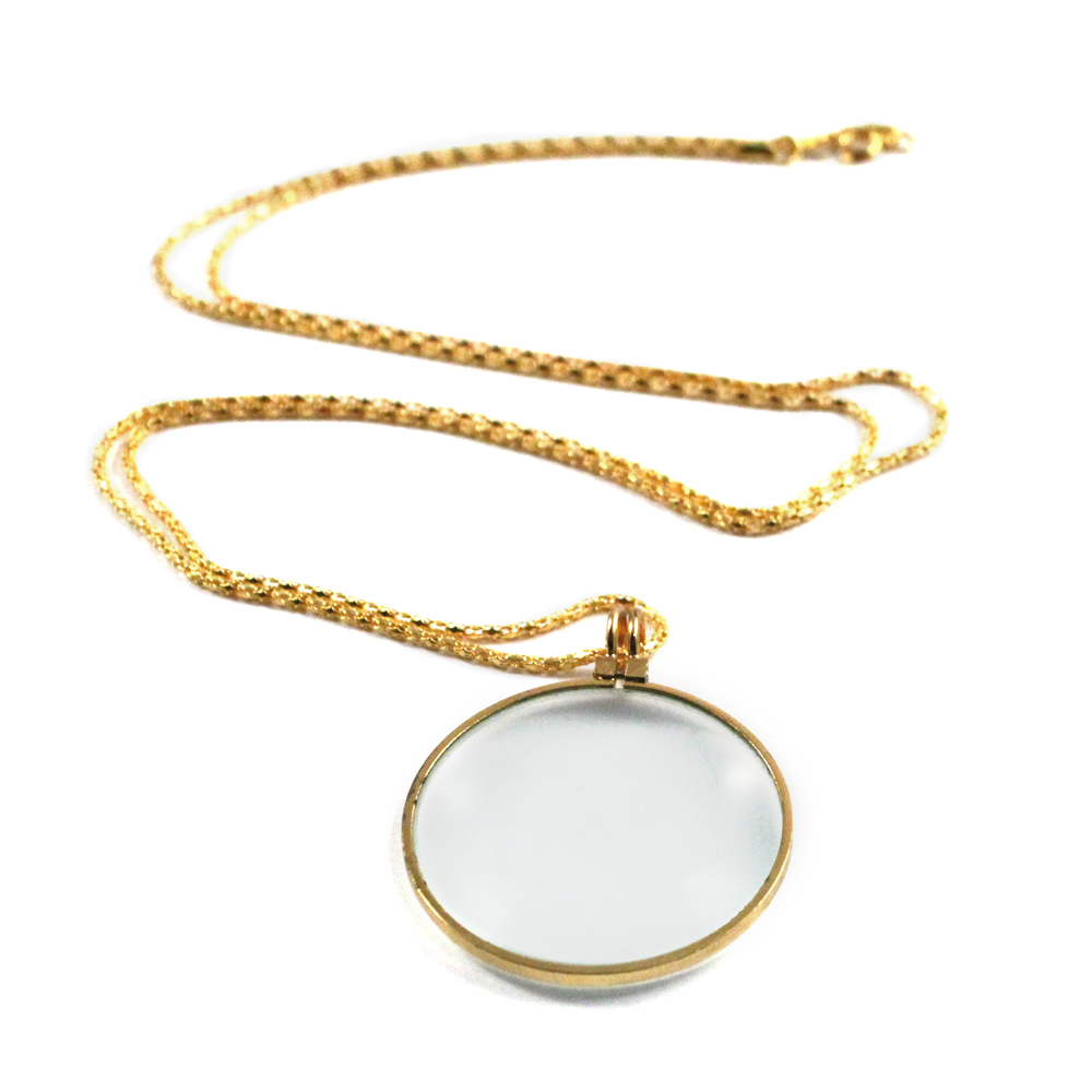 "1 3/4"" Gold Finish Pendant 5X Magnifier w/ Neck Chain"