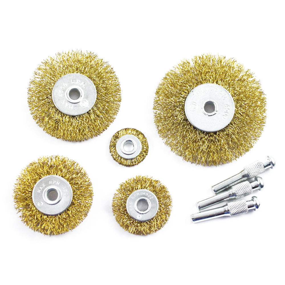 8pc Brass Wire Wheel Brush Set Arbor Size 1/4""