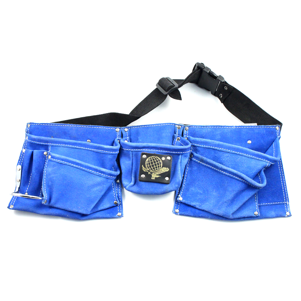 9 Pocket Heavy Duty Leather Tool Belt (Blue)
