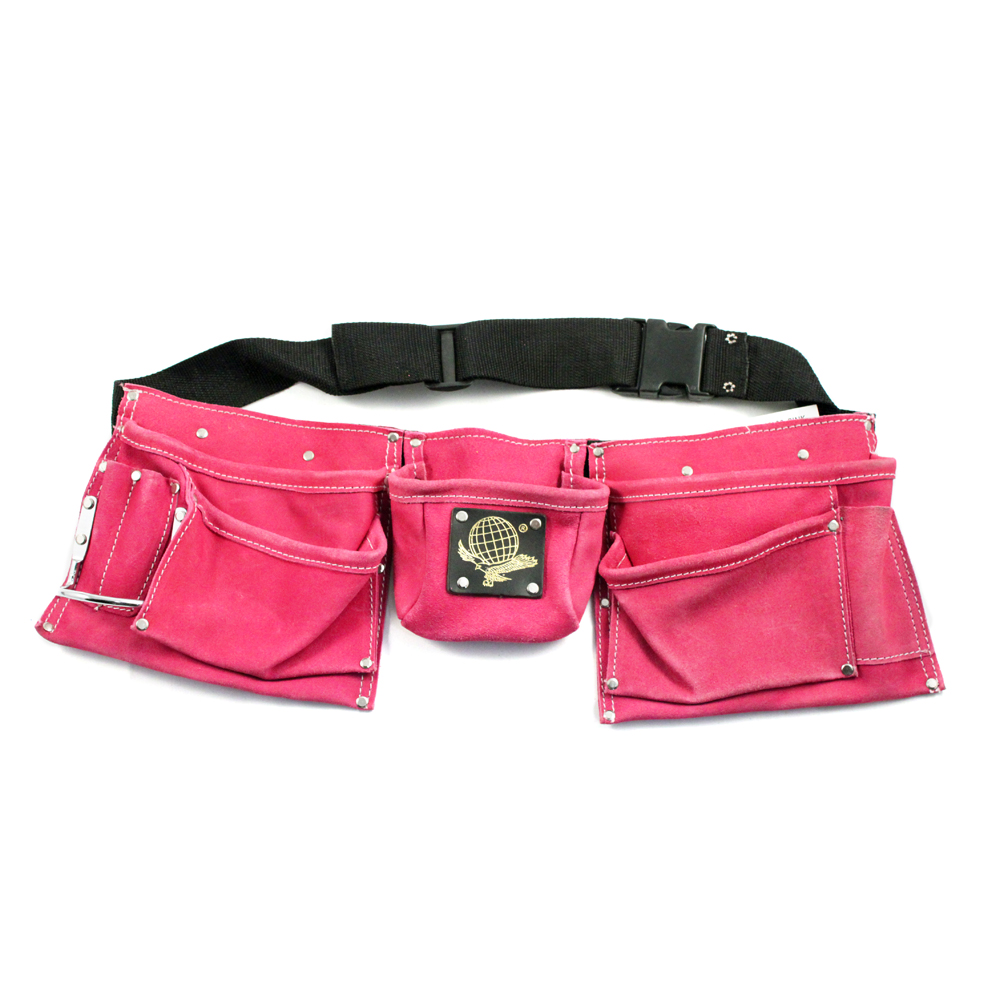 9 Pocket Heavy Duty Leather Tool Belt (Pink)