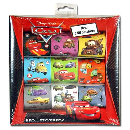 150pc Disney Pixar Cars 9 Roll Sticker Box Set