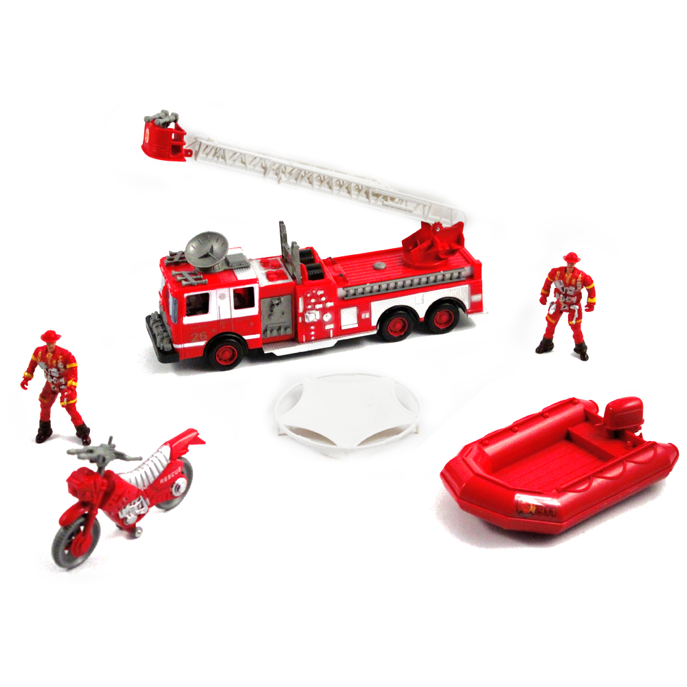6pc Fire Fighter Rescue Team Action Figure Play Set