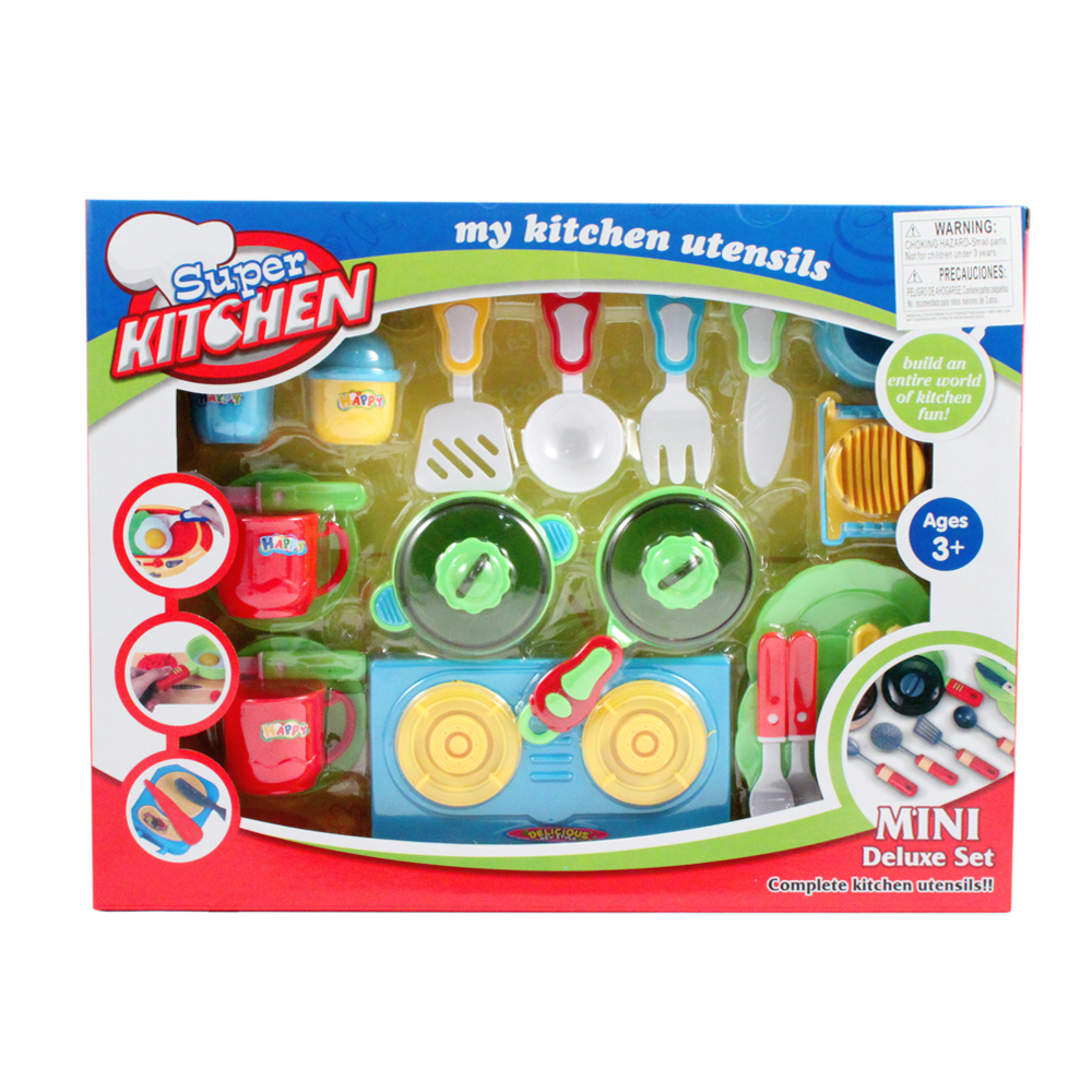 23pc Children's Pretend Play Kitchen Set (Burner)