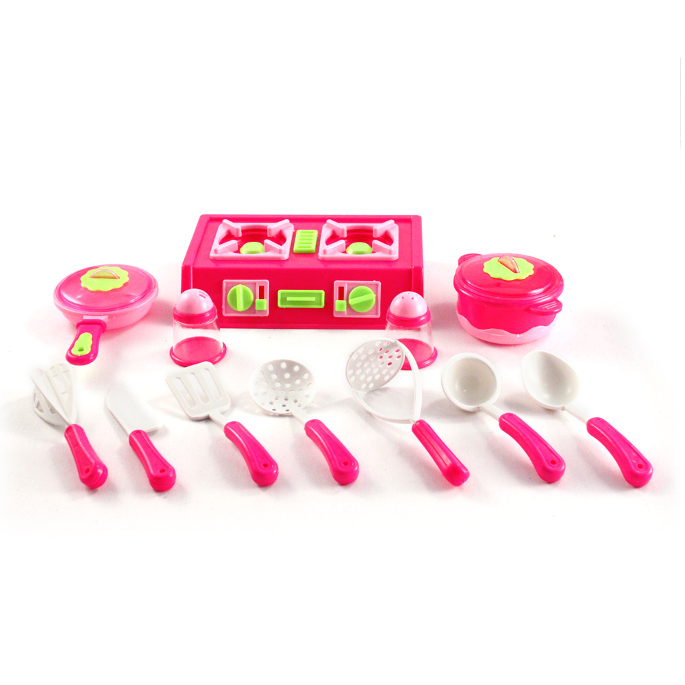 12pc Pink Pretend Play Kitchen Set w/ Cooking Utensils & Burner