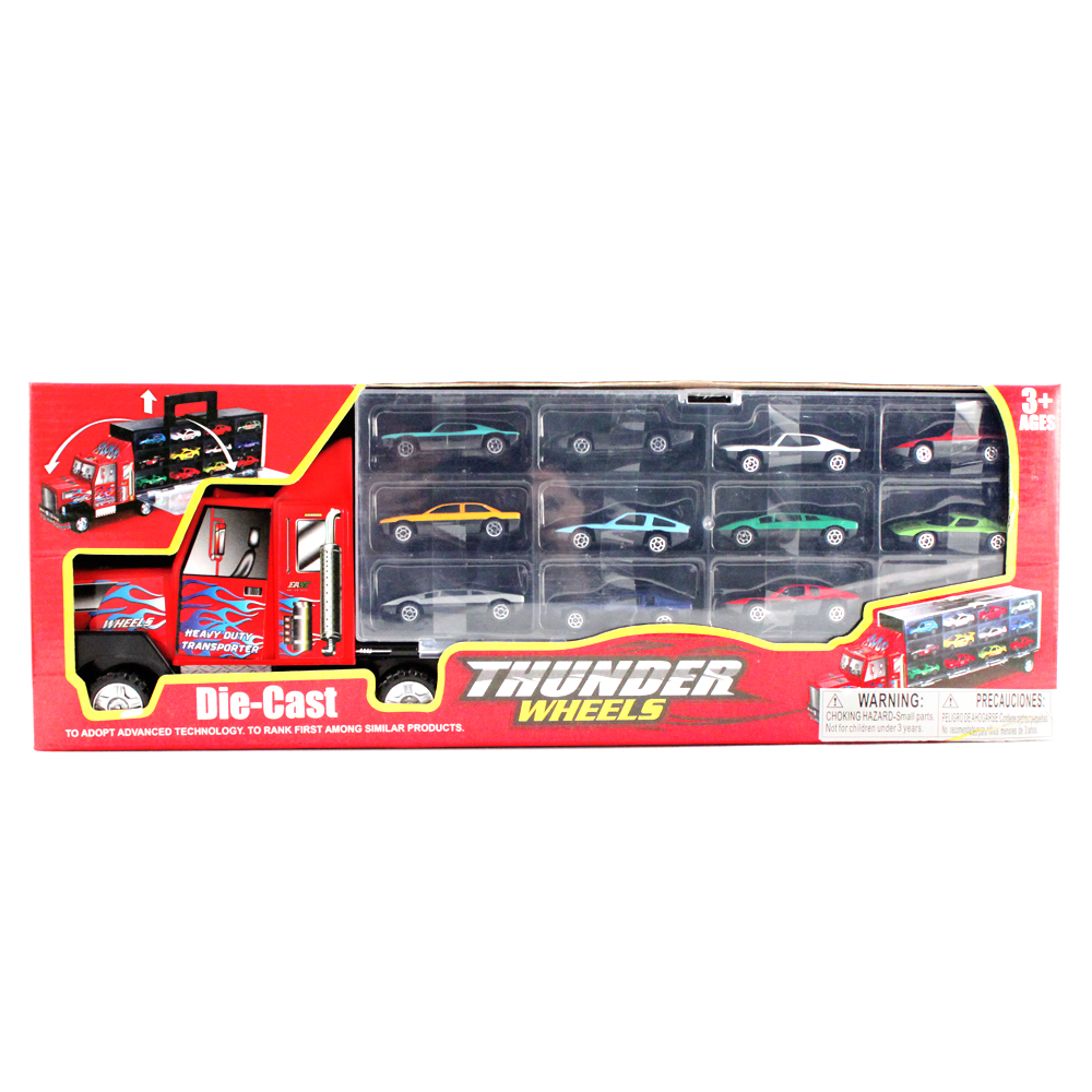 Toy Car Carrier : Pc thunder wheels semi truck toy vehicle race car