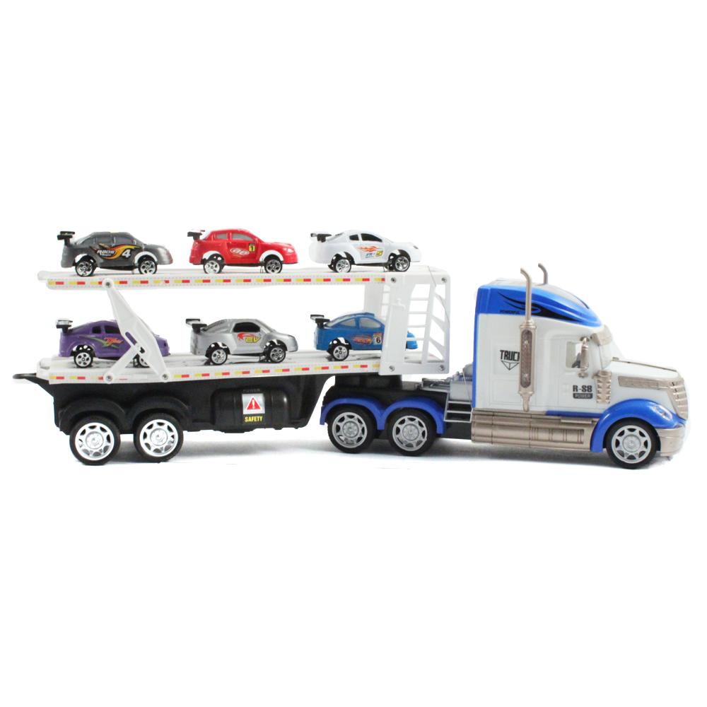 8pc Motorized Sports Car 1:36 RC Toy Truck Auto Hauler - Blue