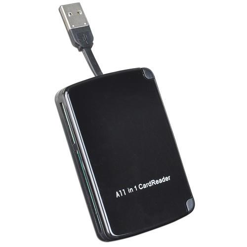 10-in-1 USB SD Memory Card Reader w/ Built In Card Storage