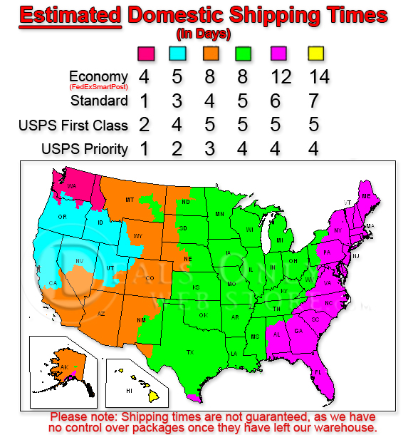 Estimated Shipping Times Map