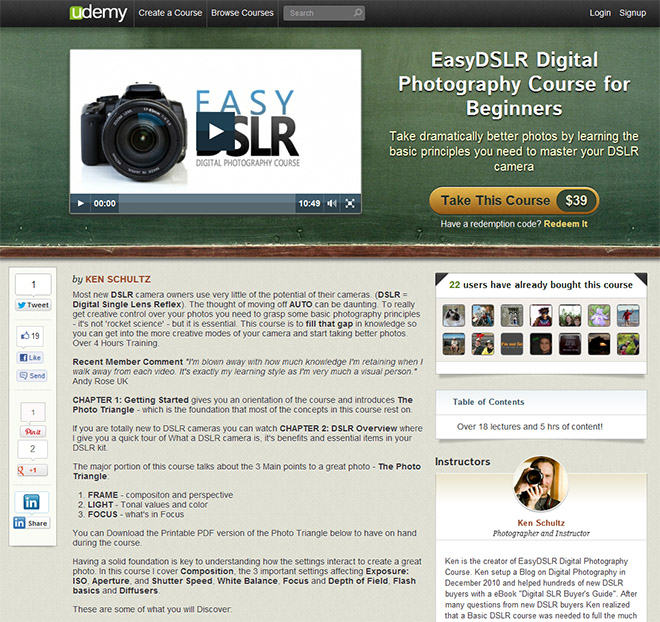easydslrudemy EasyDSLR Digital Photography Course now on udemy