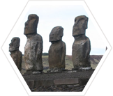 Famous stone moai on Easter Island, believed to represent the spirits of ancestors and powerful chiefs
