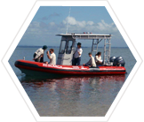 Earthwatch volunteers on the research boat.