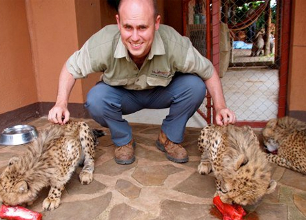 Tim Rivett at the Cheetah Conservation in Namibia.