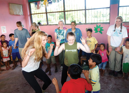 Students visit a Cocoma school in Peru