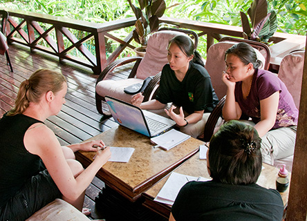 Participants on the Business Skills for World Heritage workshop undertook field research and facilitated learning sessions in a stunning rainforest setting
