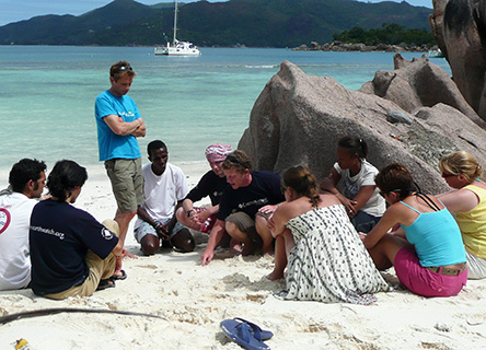Dr. David Smith with a project team in the idyllic Seychelles.