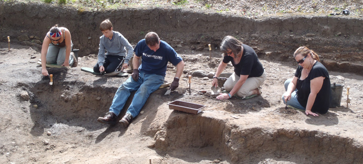 Volunteers digging at the Roman site of Fort Arbeia