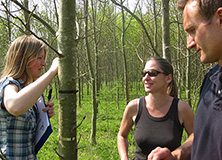 Dr. Martha Crockatt and research team in Wytham Woods
