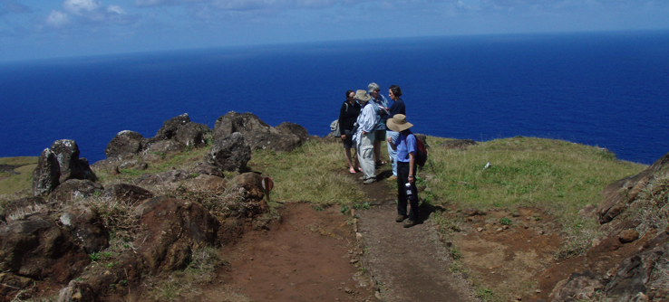 Research volunteers exploring Rapa Nui