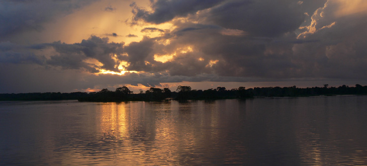 Amazon river sunset