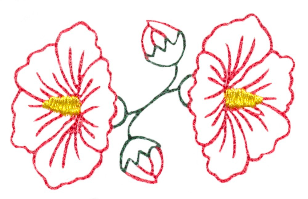 Hibiscus flower outline in embroidery design by