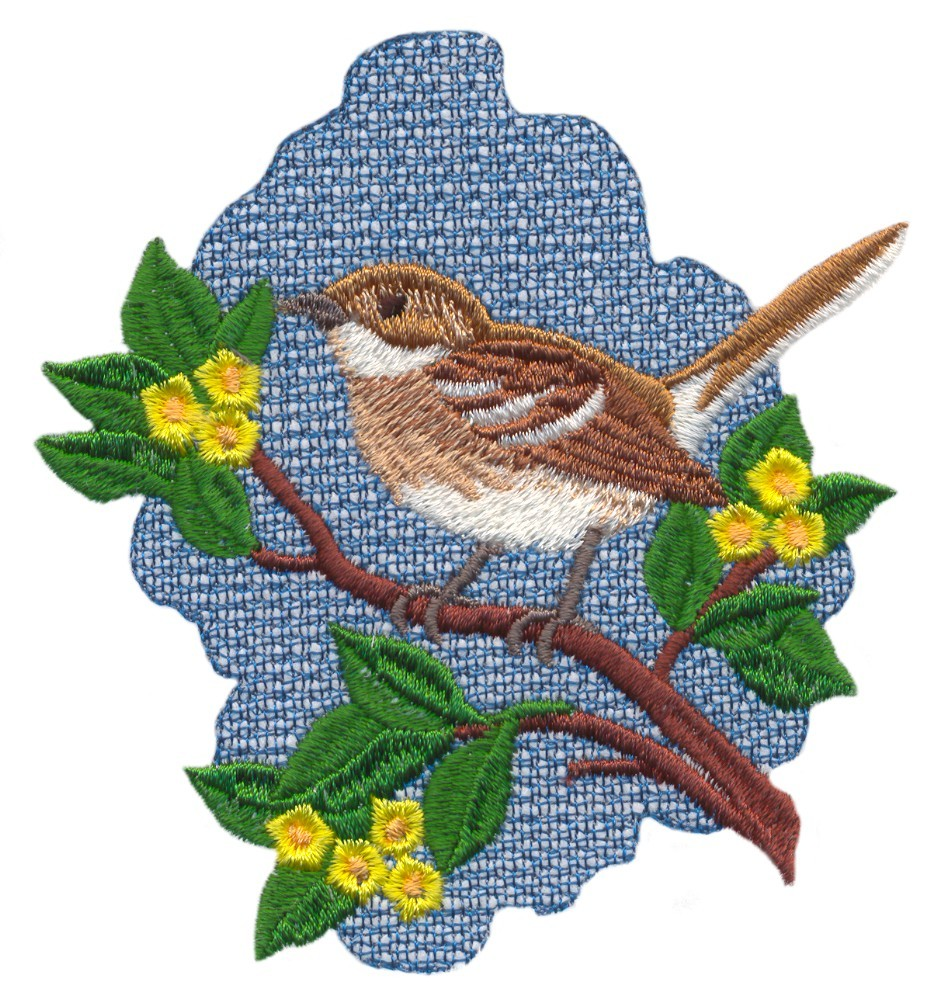 Oahu Elepaio Flycatcher (Hawaiian Bird) (IN429) Embroidery Design by Stitchitize