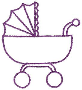 Baby carriage outline large aitb109d embroidery design by adorable ideas