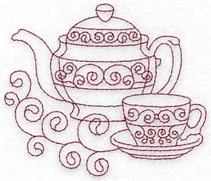 Teapot And Teacup Redwork AITE131 Embroidery Design By