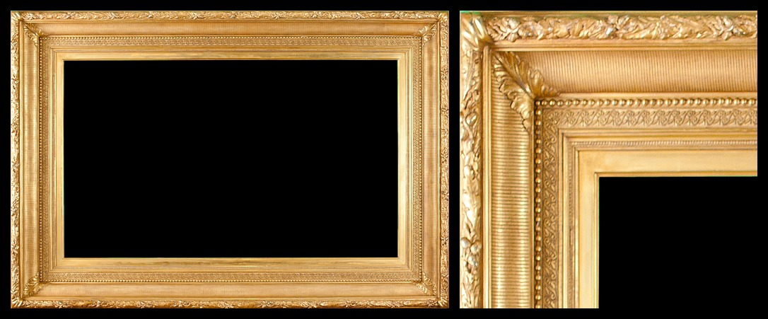 Hudson River School / Applied Ornament and Gilded Ogee Fluted Cove Frame. 