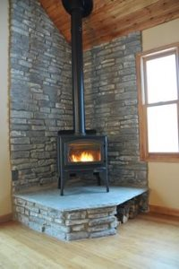 Corner Wood Burning Fireplace Cover Photo