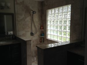 Glass Block Shower Wall Cover Photo