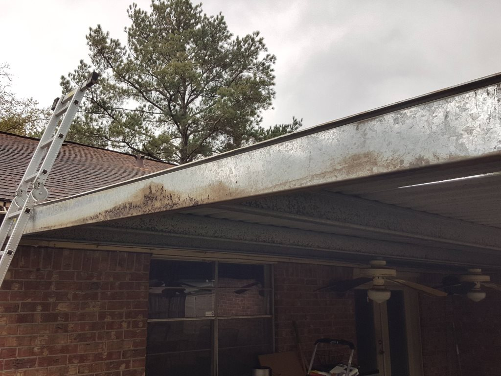 Demoing an Aluminum Patio Awning Cover Photo
