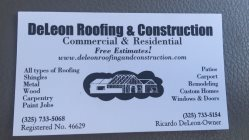 Deleon Roofing & Construction Logo