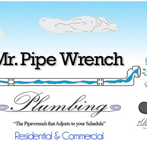 Mr. Pipe Wrench Plumbing Logo