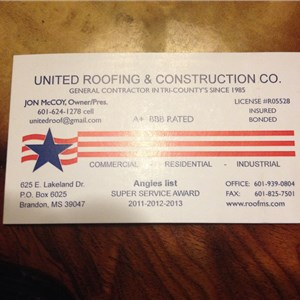 United Roofing and Construction Logo