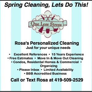 One Less Stress, Rosas Personalized Cleaning Cover Photo