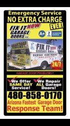 Fix It Now Garage Doors LLC. Logo