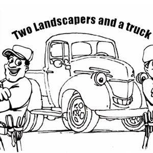Two Landscapers and a Truck Logo