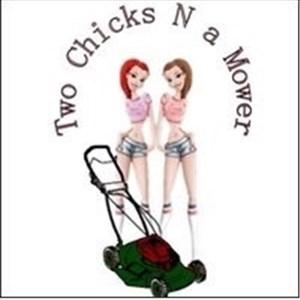 Two Chicks N a Mower Logo