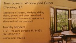 Tims Screens, Window And Gutter Cleaning LLC Logo