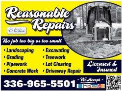 Reasonable Repairs- Landscaping,Grading & Pipework Logo