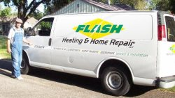 Flash Heating And Home Repair Logo