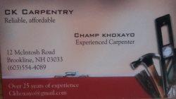 Champ Khoxayo Carpentry Logo
