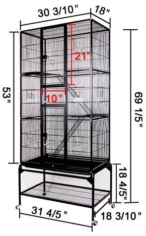 Black Three-Story Rectangle Cockatiel Bird Cage