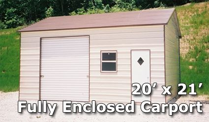 20' x 21' Fully Enclosed Carport Garage