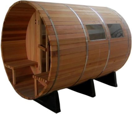 6' Four Person Nordic Pine Outdoor Barrel Sauna
