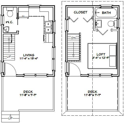 12x16 Tiny House PDF Floor Plan 364 sq ft SAVANNAH GEORGIA