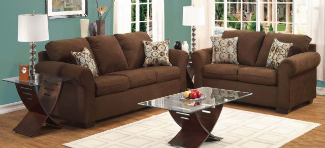 New Simmons Sofa & Loveseat Chocolate Microfiber