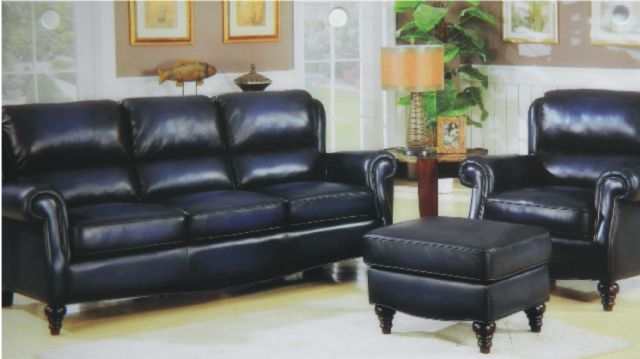 New Thomasville Leather Sofa Chair & Ottoman