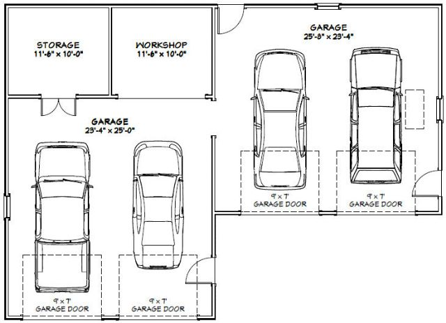 50x36 4-car garage -- pdf floor plan